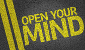 Open your Mind written on the road — Foto de Stock