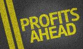 Profits Ahead written on the road — Stock Photo