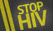 Stop HIV written on the road — Foto Stock