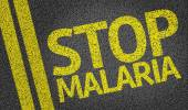 Stop Malaria written on the road — Stok fotoğraf