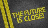 The Future is Close written on the road — Stock Photo
