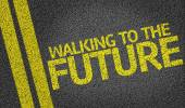 Walking to the Future written on the road — Stock Photo