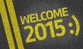 Welcome 2015 written on the road — Stock Photo
