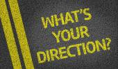 What's your direction? written on the road — Stock Photo