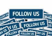 Follow Us written on multiple road sign — Foto de Stock