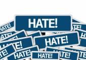 Hate! written on multiple road sign — Zdjęcie stockowe