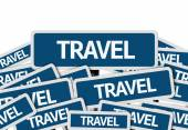 Travel written on multiple road sign — Stock Photo