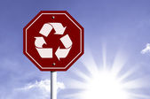 Recycle Icon red sign — Stock Photo