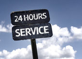 24 Hours Service   sign — Stock Photo
