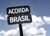 """""""Acorda Brasil"""" (In portuguese: Brazil Wake Up) sign — Stock Photo"""