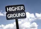 Higher Ground sign — Stock Photo
