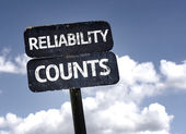 Reliability Counts sign — Stock Photo