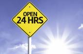 Open 24 HRS   road sign — Stock Photo