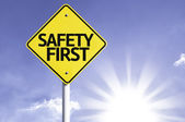 Safety first   road sign — Stock Photo