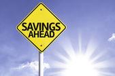 Savings Ahead  road sign — Stock Photo