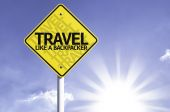 Travel like a backpacker  road sign — Stock Photo