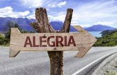 Alegria  wooden sign — Stock Photo