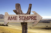 Ame Sempre  wooden sign — Stock Photo