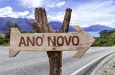Ano Novo  wooden sign — Stock Photo