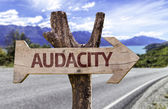 Audacity  wooden sign — Stock Photo