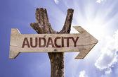 Audacity wooden sign — Stock Photo