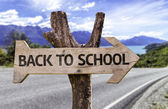 Back to school  wooden sign — Stockfoto