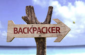 Backpacker   wooden sign — Stock Photo