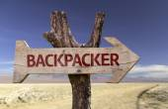 Backpacker   wooden sign — Stockfoto
