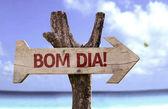 Bom Dia wooden sign — Stockfoto