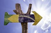 Brazil flag wooden sign — Stock Photo