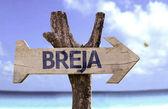 Breja wooden sign — Stockfoto