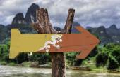 Bhutan wooden sign — Stock Photo