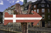 Denmark wooden sign — Stok fotoğraf