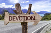 Devotion wooden sign — Stock Photo