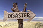 Disaster  wooden sign — Stock Photo