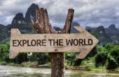 Explore the World  wooden sign — Stock Photo