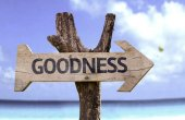 Goodness  wooden sign — Stock Photo