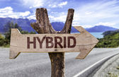 Hybrid   wooden sign — Stock Photo