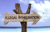 Illegal Immigration   wooden sign — Stok fotoğraf