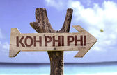 Koh Phiphi  wooden sign — Stock Photo