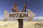Mission  wooden sign — Stock Photo