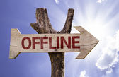 Offline wooden sign — Stock Photo