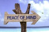 Peace of Mind wooden sign — Stock Photo