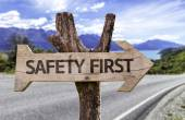 Safety first wooden sign — Stock Photo
