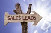 Sales leads wooden sign — Stok fotoğraf