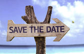 Save the date wooden sign — Stock Photo