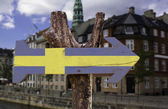 Sweden wooden sign — Stock Photo