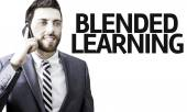 Business man with the text Blended Learning in a concept image — Stock Photo