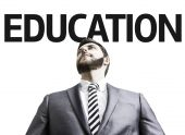 Business man with the text Education in a concept image — Stock Photo