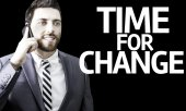 Business man with the text Time For Change in a concept image — 图库照片